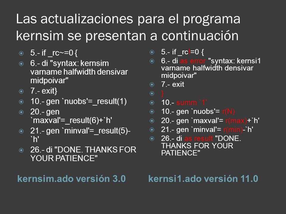 Las actualizaciones para el programa kernsim se presentan a continuación kernsim.ado versión 3.0kernsi1.ado versión 11.0 5.- if _rc~=0 { 6.- di