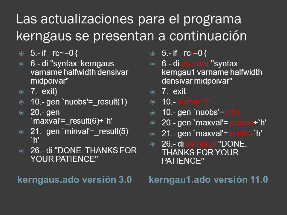 Las actualizaciones para el programa kerngaus se presentan a continuación kerngaus.ado versión 3.0kerngau1.ado versión 11.0 5.- if _rc~=0 { 6.- di