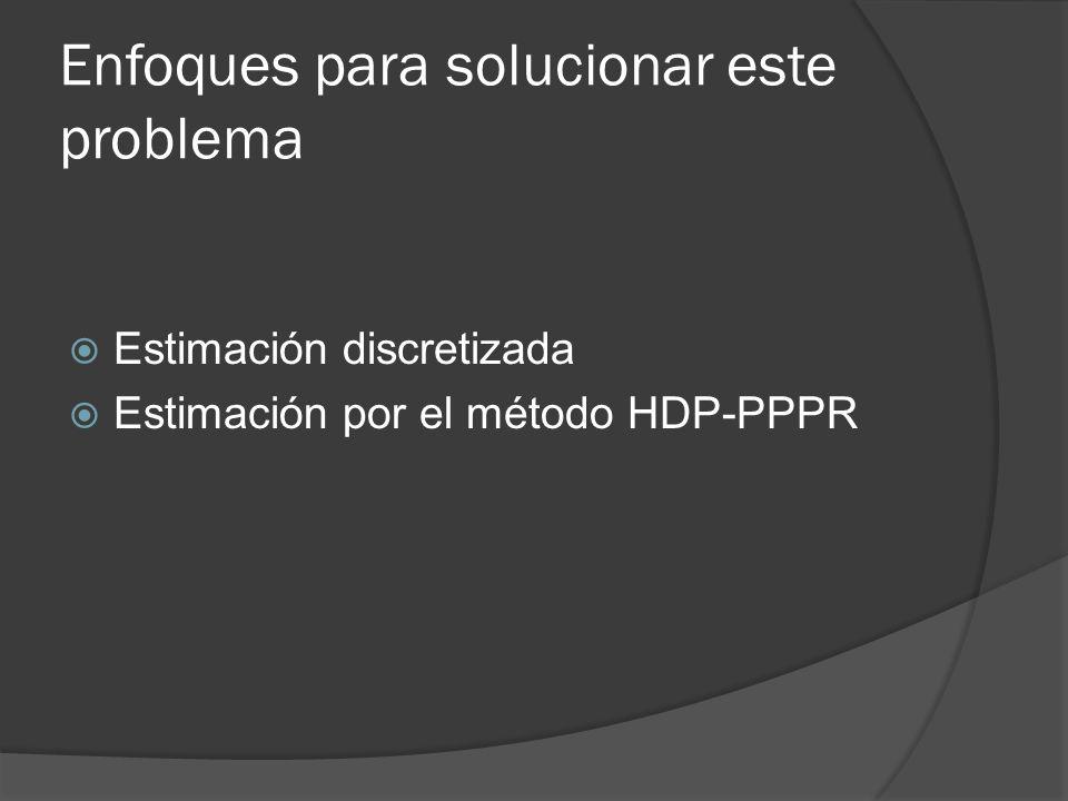 Enfoques para solucionar este problema Estimación discretizada Estimación por el método HDP-PPPR