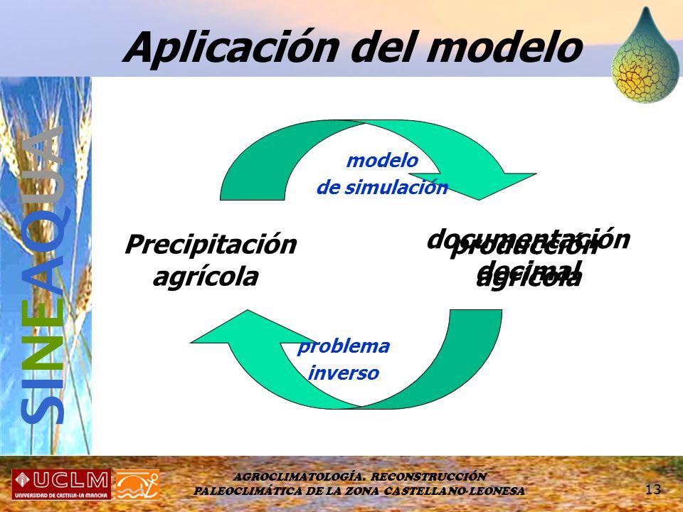 AGROCLIMATOLOGÍA. RECONSTRUCCIÓN PALEOCLIMÁTICA DE LA ZONA CASTELLANO-LEONESA 13 Aplicación del modelo Precipitación agrícola producción agrícola mode