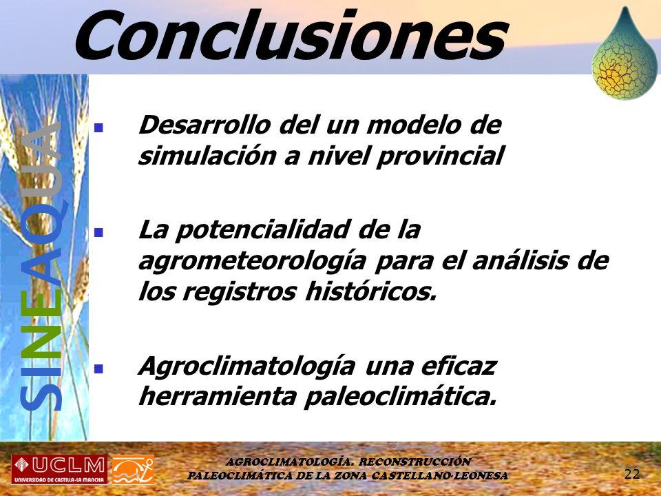 AGROCLIMATOLOGÍA. RECONSTRUCCIÓN PALEOCLIMÁTICA DE LA ZONA CASTELLANO-LEONESA 22 Conclusiones Desarrollo del un modelo de simulación a nivel provincia