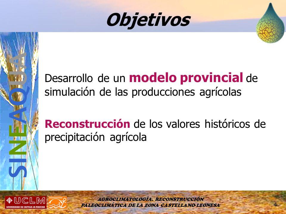 AGROCLIMATOLOGÍA. RECONSTRUCCIÓN PALEOCLIMÁTICA DE LA ZONA CASTELLANO-LEONESA 4 Desarrollo de un modelo provincial de simulación de las producciones a