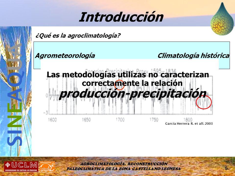AGROCLIMATOLOGÍA. RECONSTRUCCIÓN PALEOCLIMÁTICA DE LA ZONA CASTELLANO-LEONESA 6 Introducción SI NE AQ UA Agrometeorología Climatología histórica ¿Qué