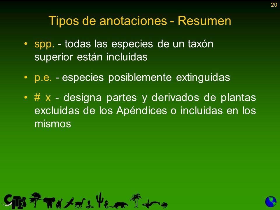 20 Tipos de anotaciones - Resumen spp. - todas las especies de un taxón superior están incluidas p.e. - especies posiblemente extinguidas # x - design
