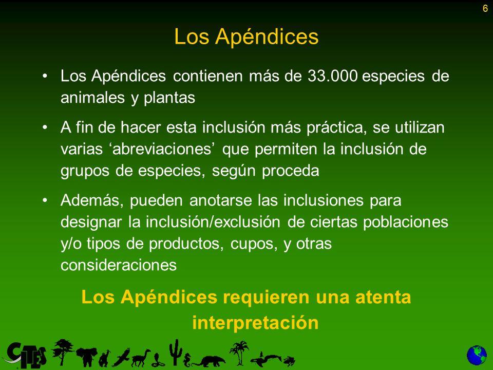 6 Los Apéndices Los Apéndices contienen más de 33.000 especies de animales y plantas A fin de hacer esta inclusión más práctica, se utilizan varias ab