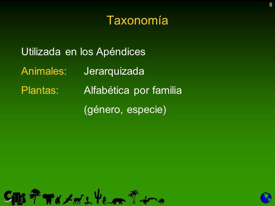 19 Taxus chinensis y los taxa infraespecíficos de esta especie 10 #10 Taxus cuspidata y los taxa infraespecíficos de esta especie 10 #10 Taxus fuana y los taxa infraespecíficos de esta especie 10 #10 Taxus sumatrana y los taxa infraespecíficos de esta especie 10 #10 Taxus wallichiana #10 10 Anotacioness Si el texto no es demasiado largo y se aplica únicamente a una especie, se incluye inmediatamente después del nombre de la especie Si es largo o se aplica a un limitado número de especies del mismo taxa, el texto de la anotación se incluye como una nota al pie de página Si el texto se aplica a un número mayor de especies (partes y derivados para las plantas) se hace referencia con el símbolo # seguido de un número.