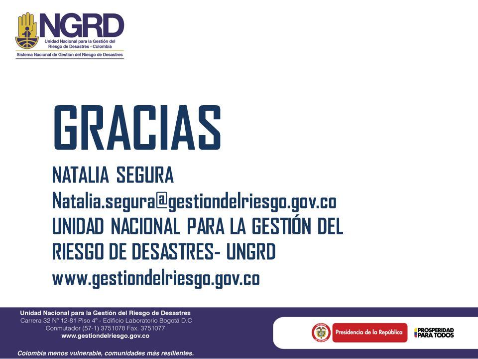 GRACIAS NATALIA SEGURA Natalia.segura@gestiondelriesgo.gov.co UNIDAD NACIONAL PARA LA GESTIÓN DEL RIESGO DE DESASTRES- UNGRD www.gestiondelriesgo.gov.
