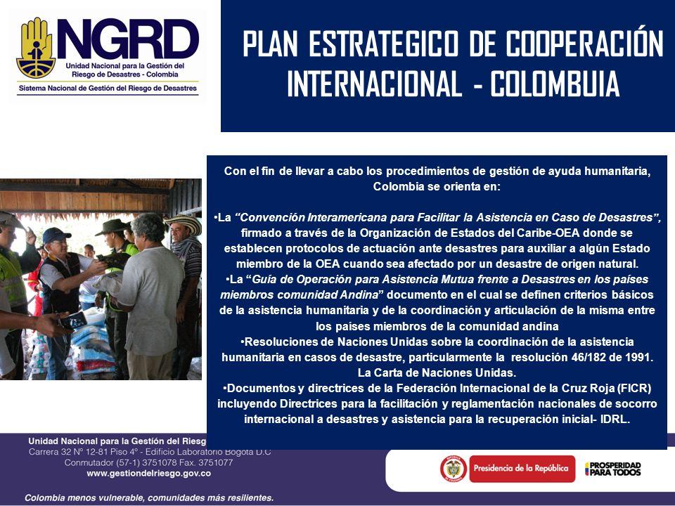 PLAN ESTRATEGICO DE COOPERACIÓN INTERNACIONAL - COLOMBUIA Con el fin de llevar a cabo los procedimientos de gestión de ayuda humanitaria, Colombia se