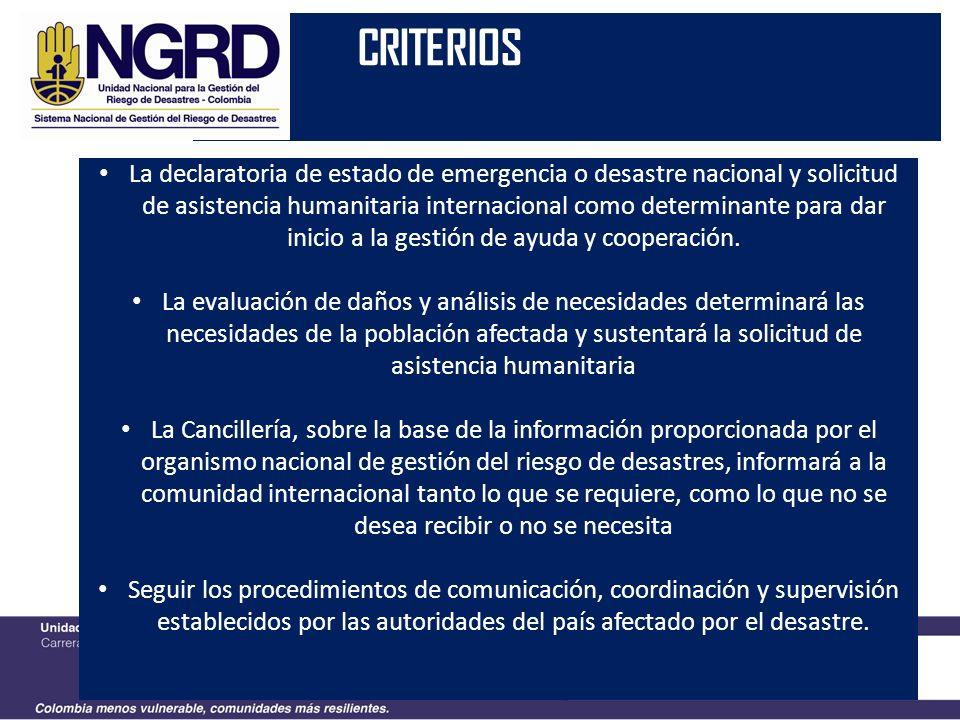Decreto 4147 2011 CRITERIOS La declaratoria de estado de emergencia o desastre nacional y solicitud de asistencia humanitaria internacional como deter