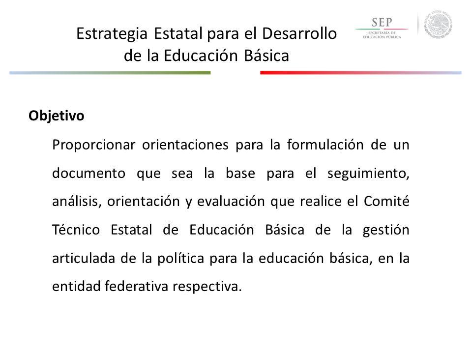 Contenido de la Estrategia Estatal para el Desarrollo de la Educación Básica 1.DIAGNÓSTICO DE LA SITUACIÓN ACTUAL EN LA EDUCACIÓN BÁSICA – En calidad (Logro educativo medido a través de los resultados de ENLACE) – Equidad (Cobertura por nivel y modalidad educativa, Aprobación, Deserción, Retención, Rezago) 2.METAS ESTATALES POR INDICADOR – Establecimiento de metas de largo plazo – Establecimiento de metas de corto plazo 3.LÍNEAS ESTRATÉGICAS PARA ATENDER LAS METAS – Calidad – Equidad 4.INSERCIÓN DE LOS PROGRAMAS FEDERALES EN LA ESTRATEGIA ESTATAL – Alineamiento de programas federales sujetos a reglas de operación, respecto a la consecución de las metas – Dimensiones de la problemática estatal que no son atendidas por la política federal y que requieren una respuesta local 5.REVISIÓN DE LA OPERACIÓN DE PROGRAMAS FEDERALES – Programa de trabajo específico – Informe de avance físico financiero ANEXOS
