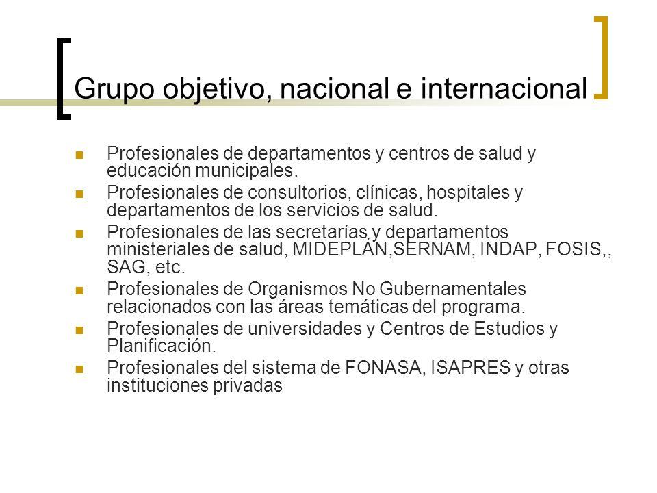 Grupo objetivo, nacional e internacional Profesionales de departamentos y centros de salud y educación municipales.