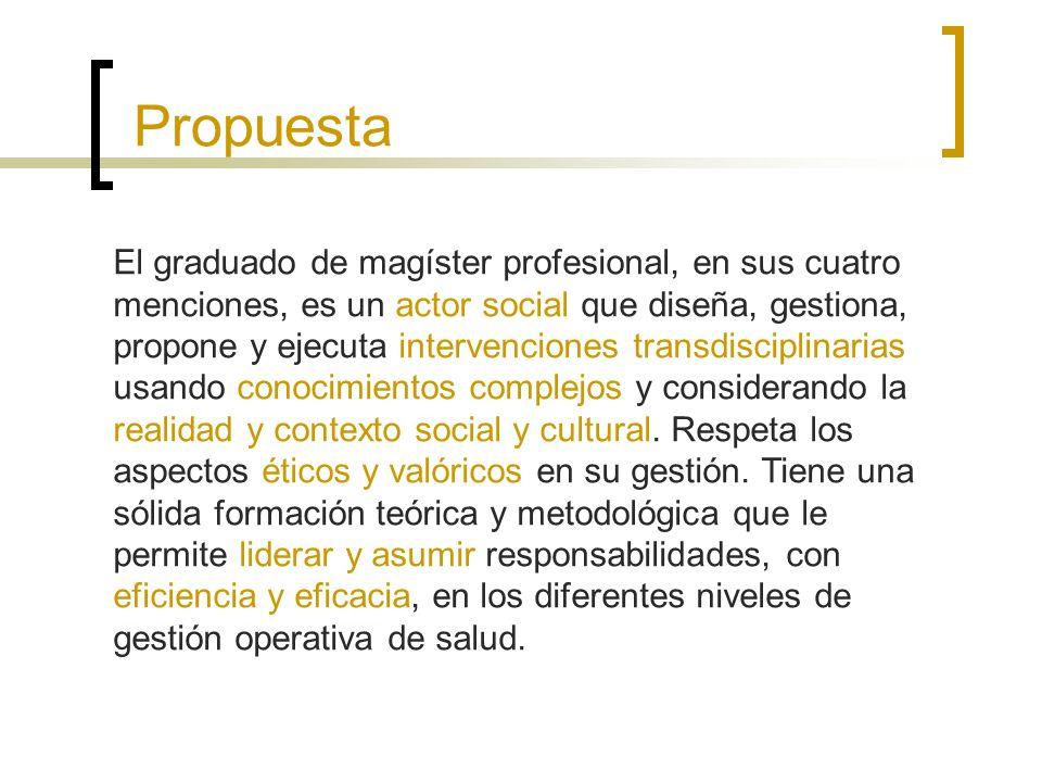 Propuesta El graduado de magíster profesional, en sus cuatro menciones, es un actor social que diseña, gestiona, propone y ejecuta intervenciones transdisciplinarias usando conocimientos complejos y considerando la realidad y contexto social y cultural.