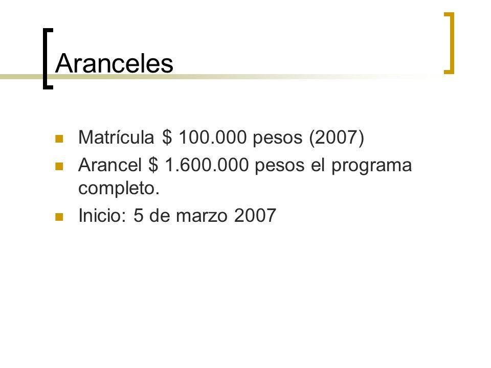 Aranceles Matrícula $ 100.000 pesos (2007) Arancel $ 1.600.000 pesos el programa completo.