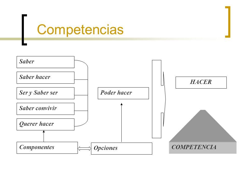 Competencias Saber Saber hacer Ser y Saber ser Saber convivir Querer hacer Poder hacer Componentes HACER Opciones COMPETENCIA