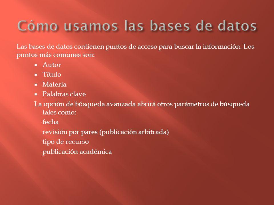 Las bases de datos contienen puntos de acceso para buscar la información. Los puntos más comunes son: Autor Título Materia Palabras clave La opción de
