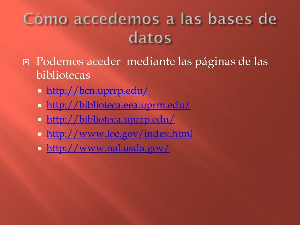 Podemos aceder mediante las páginas de las bibliotecas http://bcn.uprrp.edu/ http://biblioteca.eea.uprm.edu/ http://biblioteca.uprrp.edu/ http://www.l