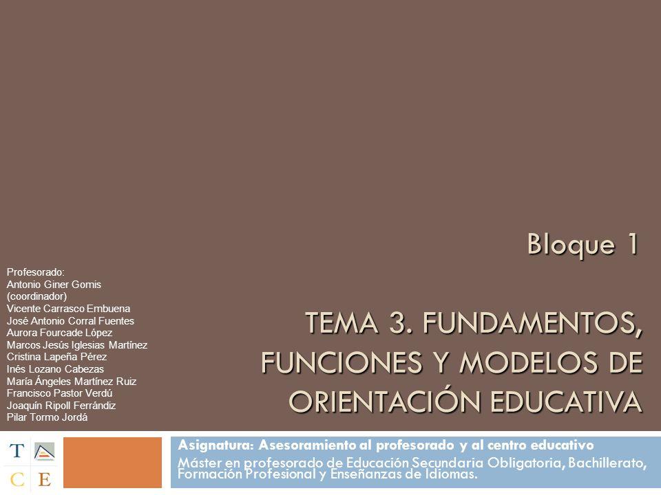 Bloque 1 TEMA 3.FUNDAMENTOS, FUNCIONES Y MODELOS DE ORIENTACIÓN EDUCATIVA Bloque 1 TEMA 3.