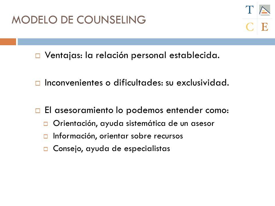 Ventajas: la relación personal establecida.Inconvenientes o dificultades: su exclusividad.