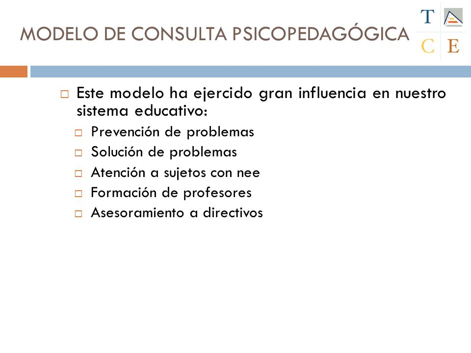 Este modelo ha ejercido gran influencia en nuestro sistema educativo: Prevención de problemas Solución de problemas Atención a sujetos con nee Formación de profesores Asesoramiento a directivos MODELO DE CONSULTA PSICOPEDAGÓGICA