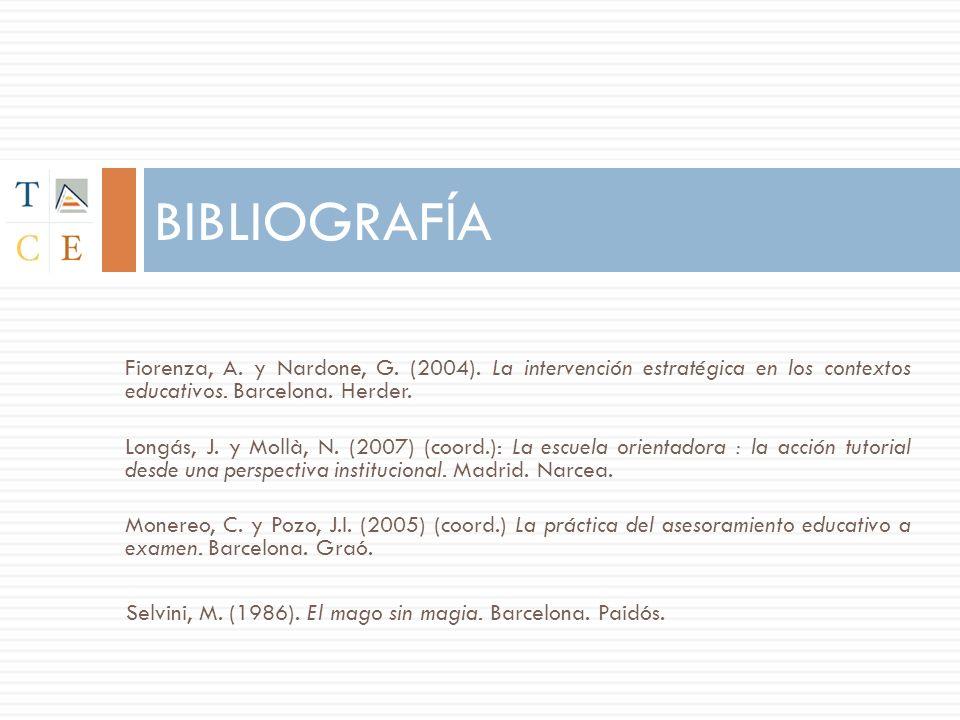 BIBLIOGRAFÍA Fiorenza, A.y Nardone, G. (2004).