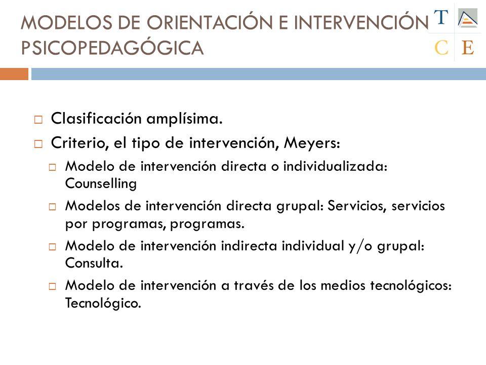 MODELOS DE ORIENTACIÓN E INTERVENCIÓN PSICOPEDAGÓGICA Clasificación amplísima.