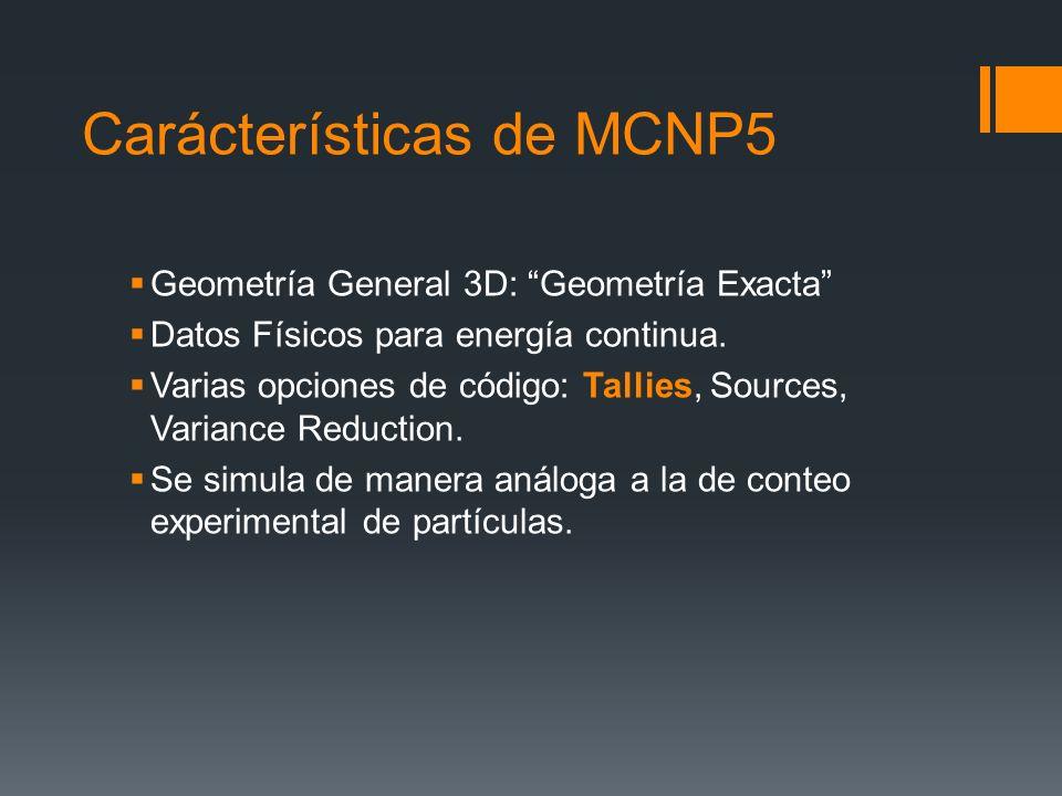 Carácterísticas de MCNP5 Geometría General 3D: Geometría Exacta Datos Físicos para energía continua. Varias opciones de código: Tallies, Sources, Vari