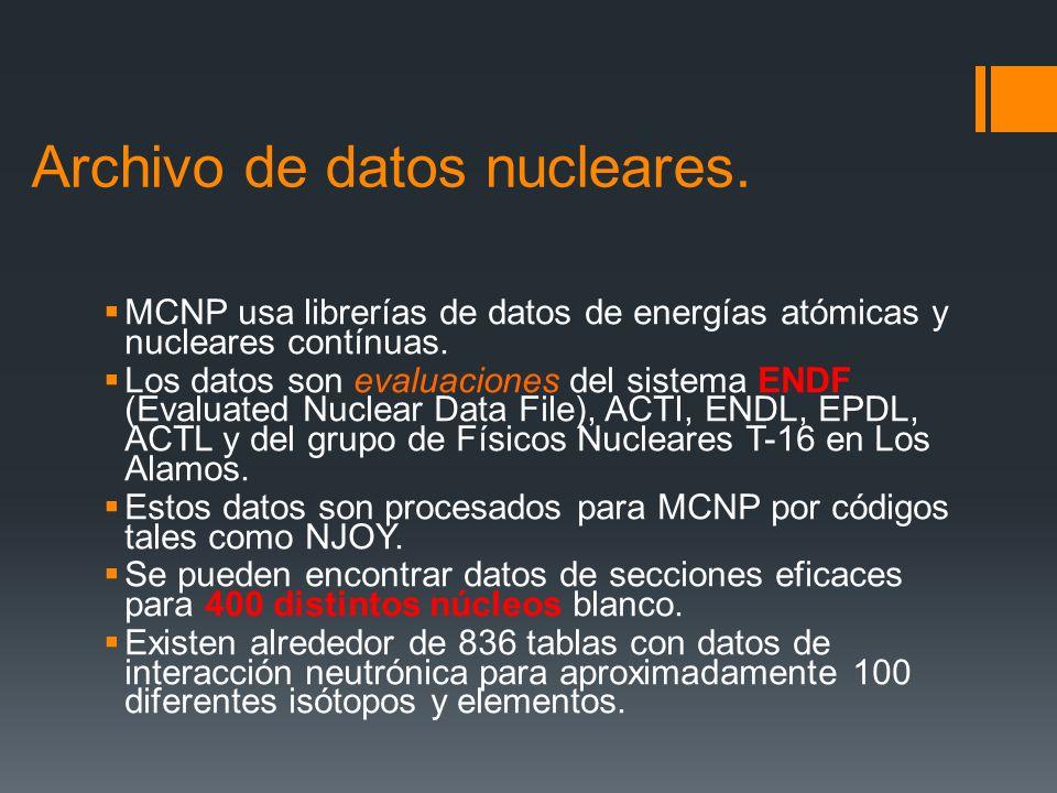 Archivo de datos nucleares. MCNP usa librerías de datos de energías atómicas y nucleares contínuas. Los datos son evaluaciones del sistema ENDF (Evalu