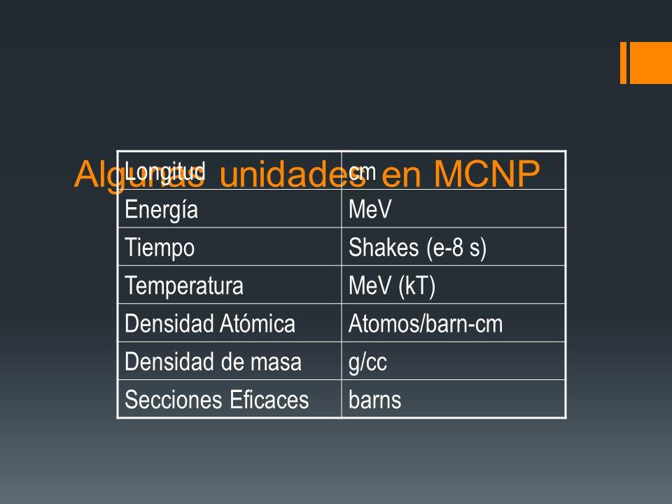Algunas unidades en MCNP Longitudcm EnergíaMeV TiempoShakes (e-8 s) TemperaturaMeV (kT) Densidad AtómicaAtomos/barn-cm Densidad de masag/cc Secciones