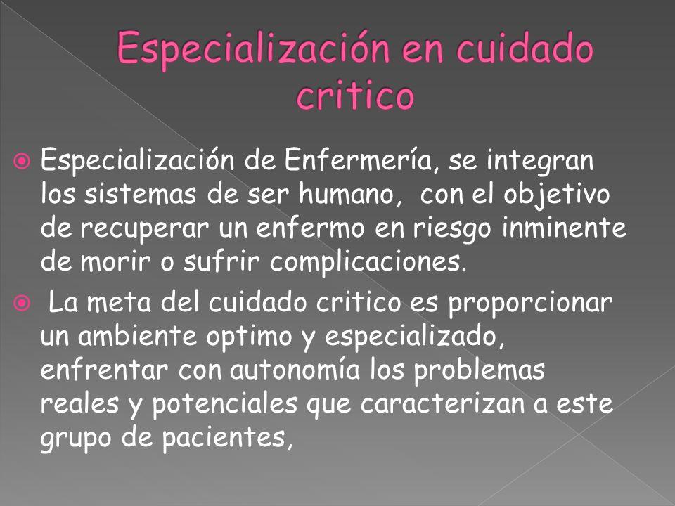 Especialización de Enfermería, se integran los sistemas de ser humano, con el objetivo de recuperar un enfermo en riesgo inminente de morir o sufrir c