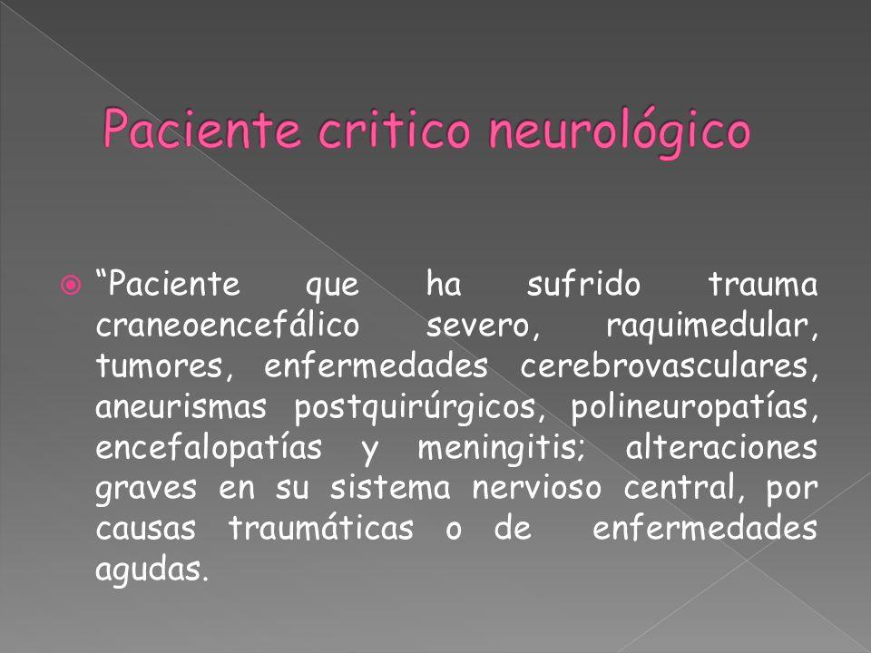Paciente que ha sufrido trauma craneoencefálico severo, raquimedular, tumores, enfermedades cerebrovasculares, aneurismas postquirúrgicos, polineuropa