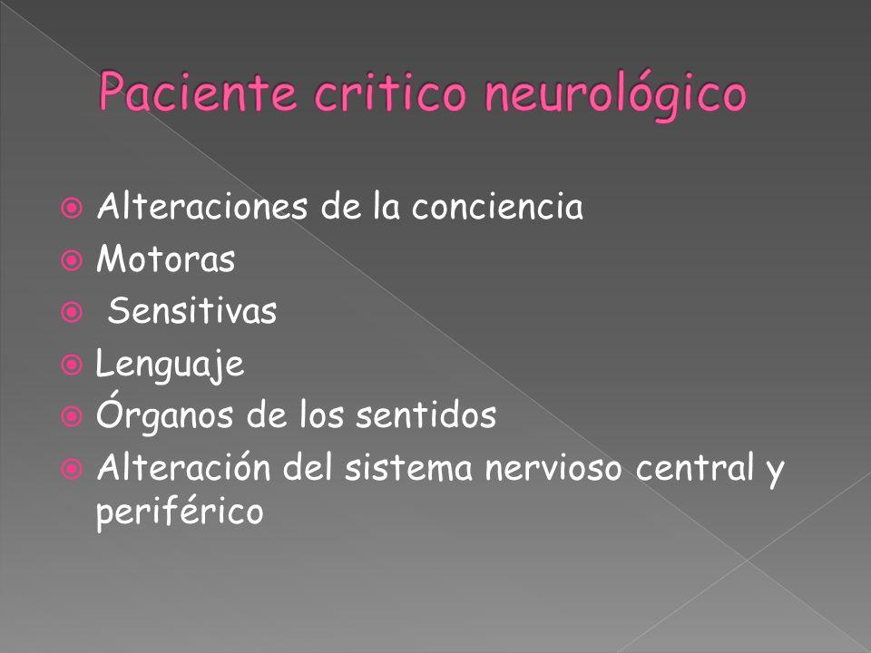 Alteraciones de la conciencia Motoras Sensitivas Lenguaje Órganos de los sentidos Alteración del sistema nervioso central y periférico