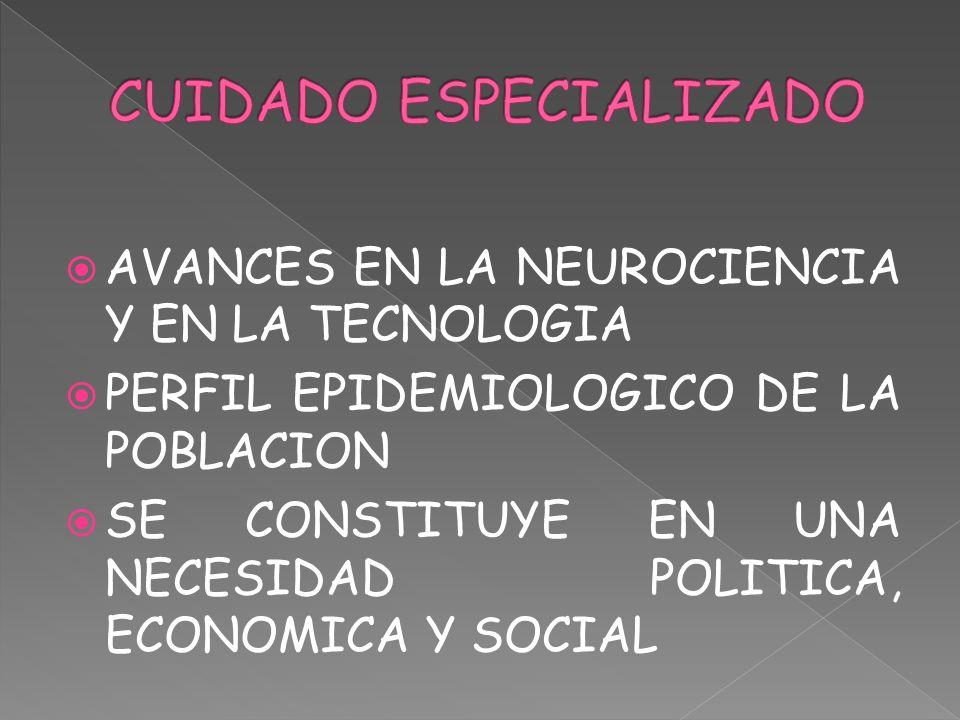 AVANCES EN LA NEUROCIENCIA Y EN LA TECNOLOGIA PERFIL EPIDEMIOLOGICO DE LA POBLACION SE CONSTITUYE EN UNA NECESIDAD POLITICA, ECONOMICA Y SOCIAL