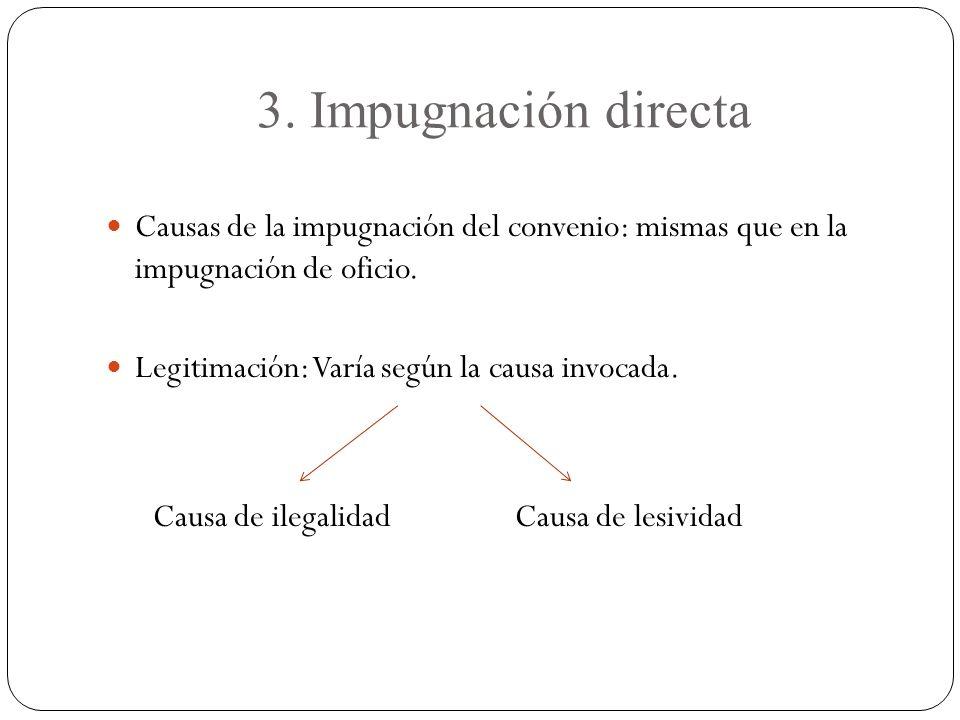 3. Impugnación directa Causas de la impugnación del convenio: mismas que en la impugnación de oficio. Legitimación: Varía según la causa invocada. Cau