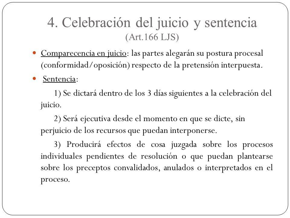 4. Celebración del juicio y sentencia (Art.166 LJS) Comparecencia en juicio: las partes alegarán su postura procesal (conformidad/oposición) respecto