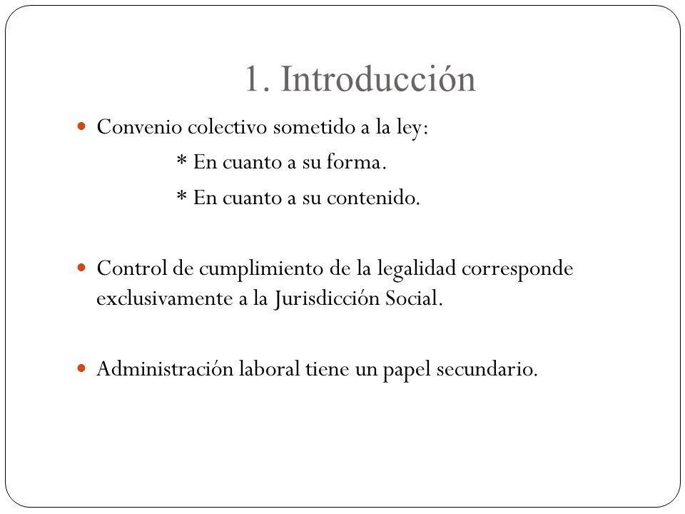 1.Introducción Convenio colectivo sometido a la ley: * En cuanto a su forma.