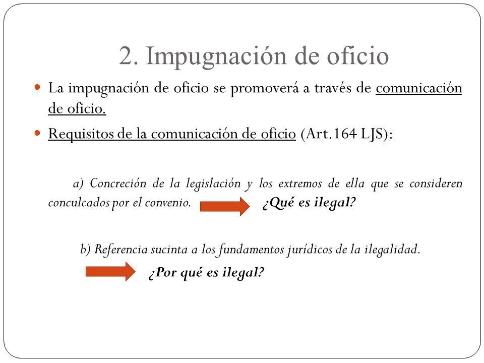 2.Impugnación de oficio La impugnación de oficio se promoverá a través de comunicación de oficio.