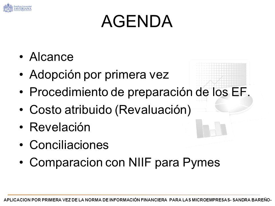 APLICACION POR PRIMERA VEZ DE LA NORMA DE INFORMACIÓN FINANCIERA PARA LAS MICROEMPRESAS- SANDRA BAREÑO- ALCANCE Microempresa que adopte por primera vez la Norma de información financiera para las Microempresas Independientemente si su marco contable estuvo basado en NIIF, NIIF para PYMES u otro marco.
