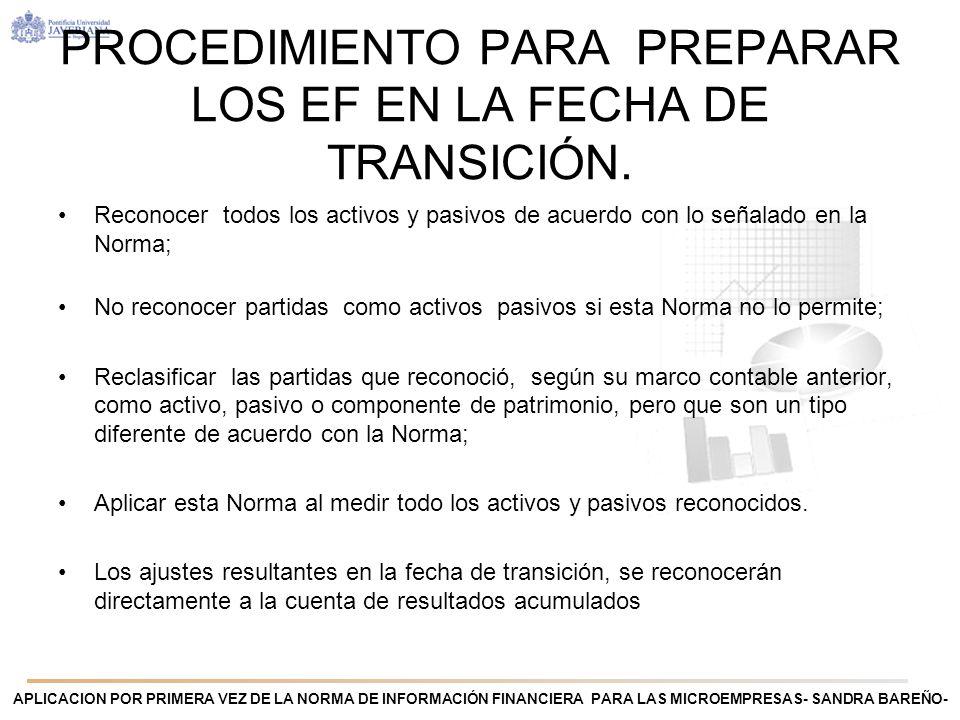APLICACION POR PRIMERA VEZ DE LA NORMA DE INFORMACIÓN FINANCIERA PARA LAS MICROEMPRESAS- SANDRA BAREÑO- PROCEDIMIENTO PARA PREPARAR LOS EF EN LA FECHA