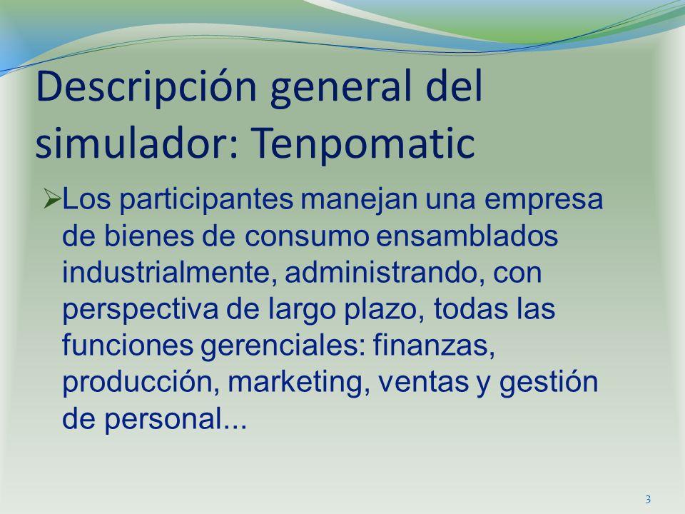 Descripción general del simulador: Tenpomatic Los participantes manejan una empresa de bienes de consumo ensamblados industrialmente, administrando, c