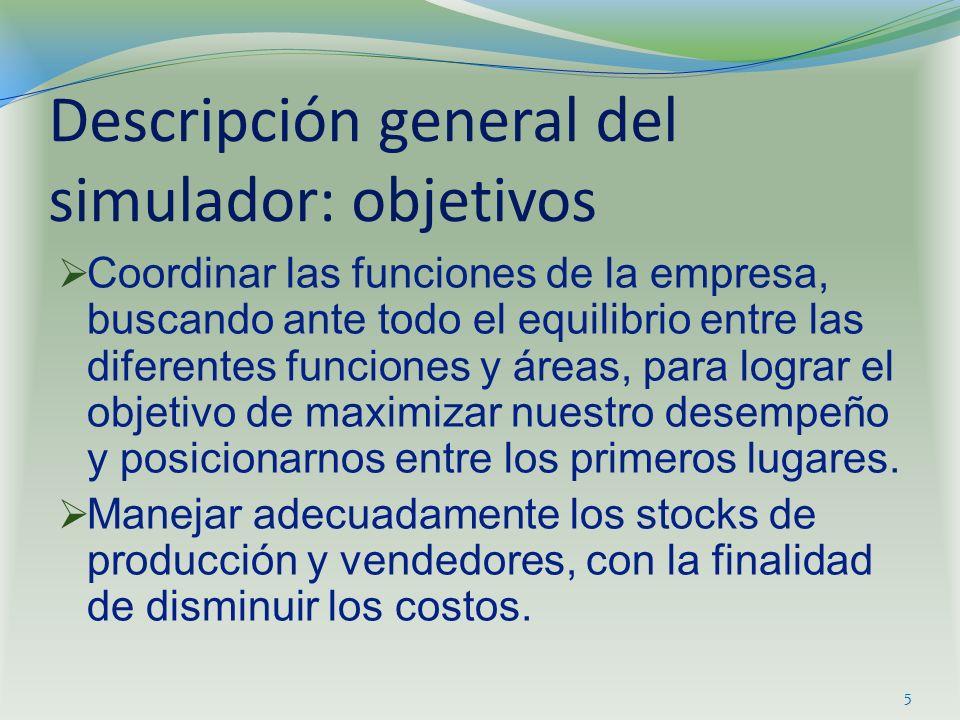 Descripción general del simulador: objetivos Coordinar las funciones de la empresa, buscando ante todo el equilibrio entre las diferentes funciones y