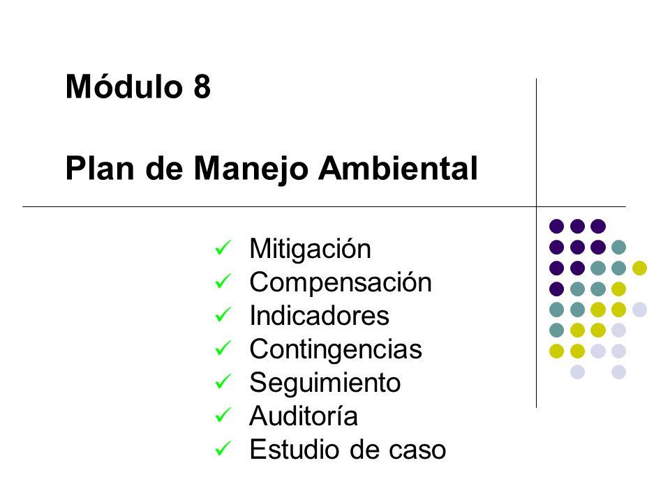 Módulo 8 Plan de Manejo Ambiental Mitigación Compensación Indicadores Contingencias Seguimiento Auditoría Estudio de caso