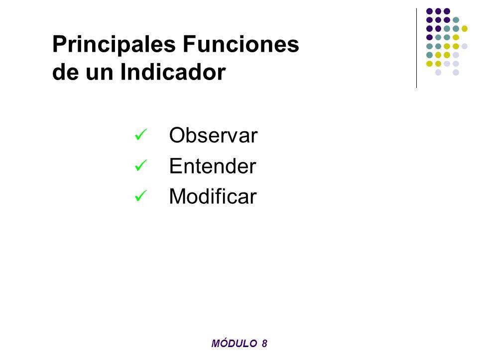 Principales Funciones de un Indicador Observar Entender Modificar MÓDULO 8