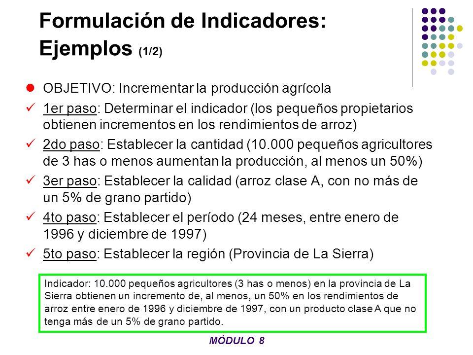 Formulación de Indicadores: Ejemplos (1/2) OBJETIVO: Incrementar la producción agrícola 1er paso: Determinar el indicador (los pequeños propietarios o