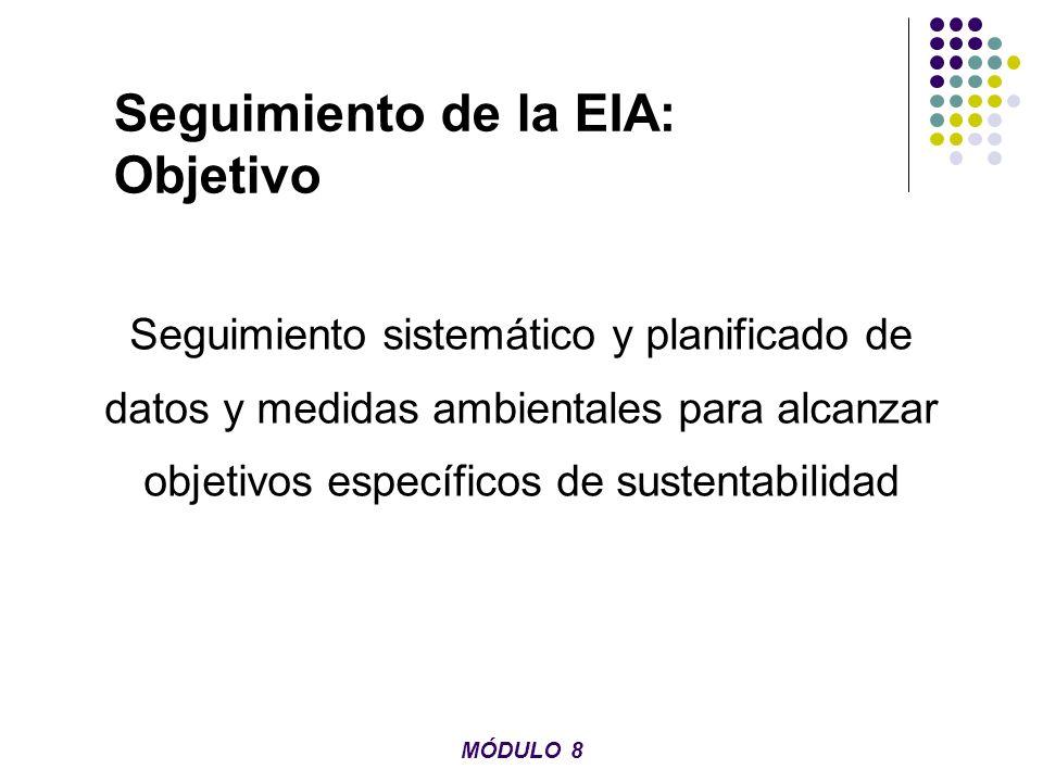 Seguimiento de la EIA: Objetivo Seguimiento sistemático y planificado de datos y medidas ambientales para alcanzar objetivos específicos de sustentabi