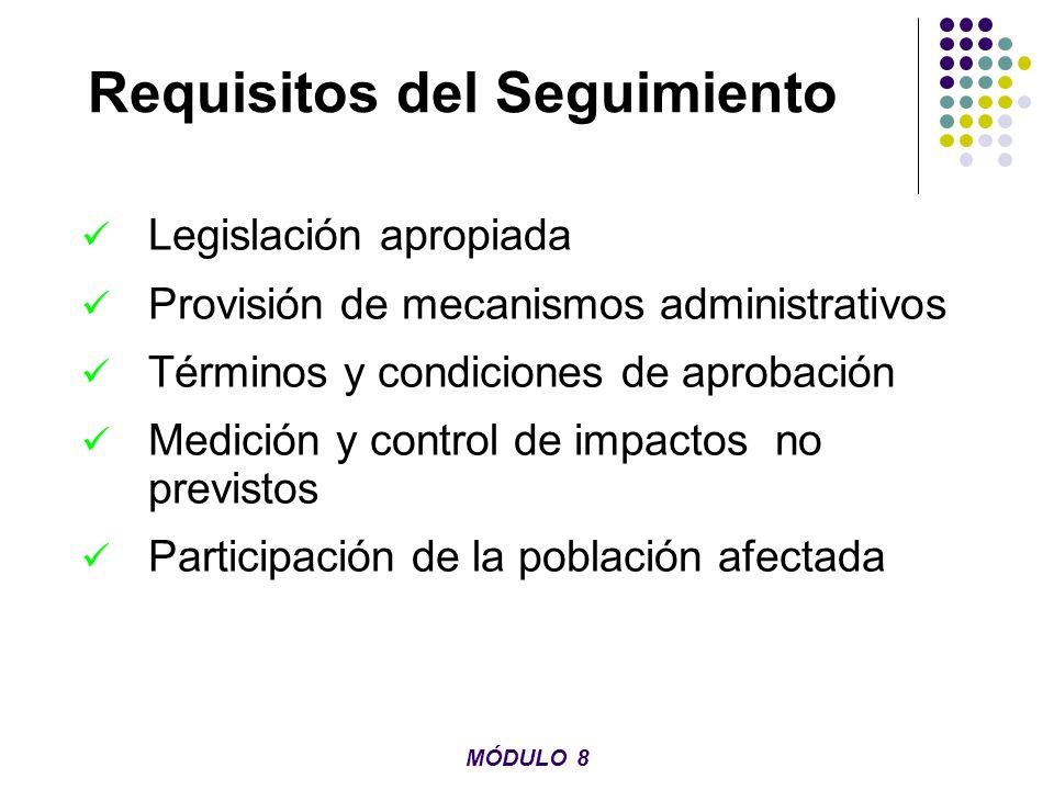 Requisitos del Seguimiento Legislación apropiada Provisión de mecanismos administrativos Términos y condiciones de aprobación Medición y control de im