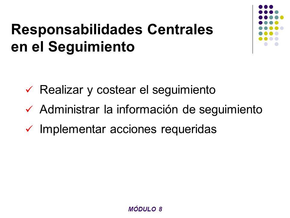 Responsabilidades Centrales en el Seguimiento Realizar y costear el seguimiento Administrar la información de seguimiento Implementar acciones requeri