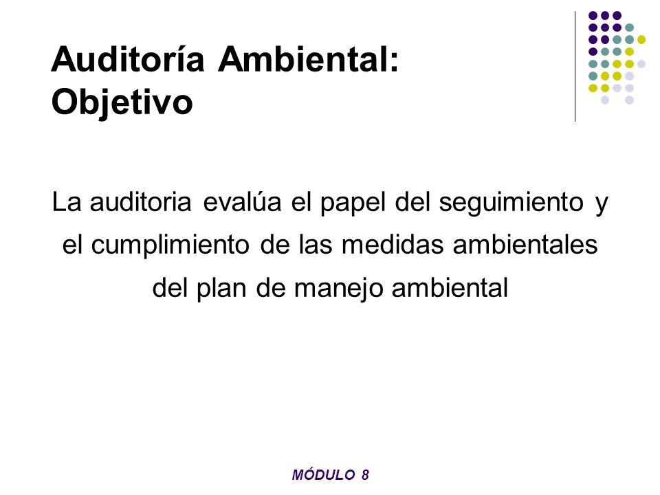 Auditoría Ambiental: Objetivo La auditoria evalúa el papel del seguimiento y el cumplimiento de las medidas ambientales del plan de manejo ambiental M
