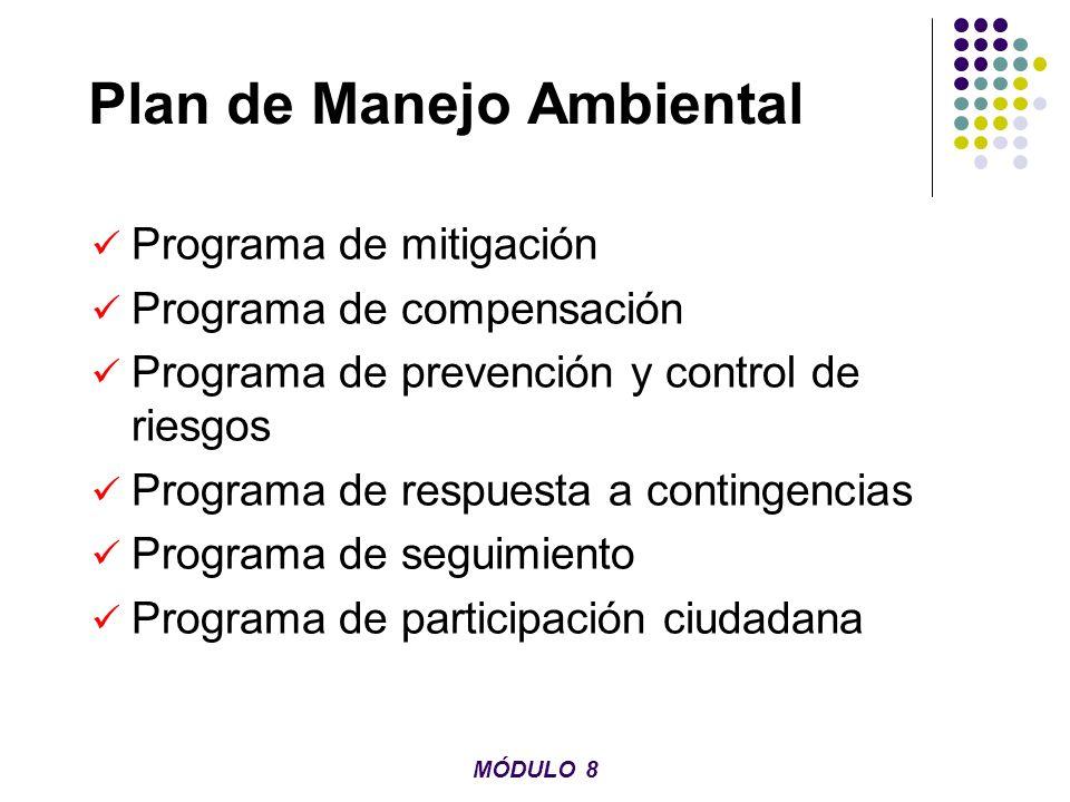 Plan de Manejo Ambiental Programa de mitigación Programa de compensación Programa de prevención y control de riesgos Programa de respuesta a contingen