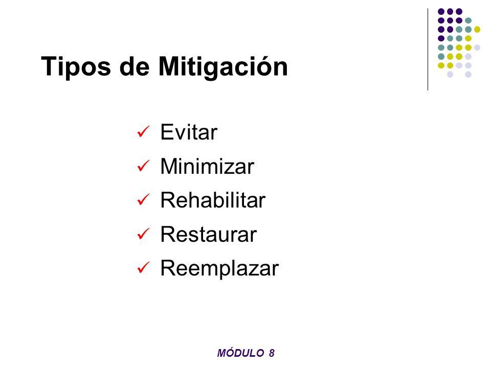 Tipos de Mitigación Evitar Minimizar Rehabilitar Restaurar Reemplazar MÓDULO 8
