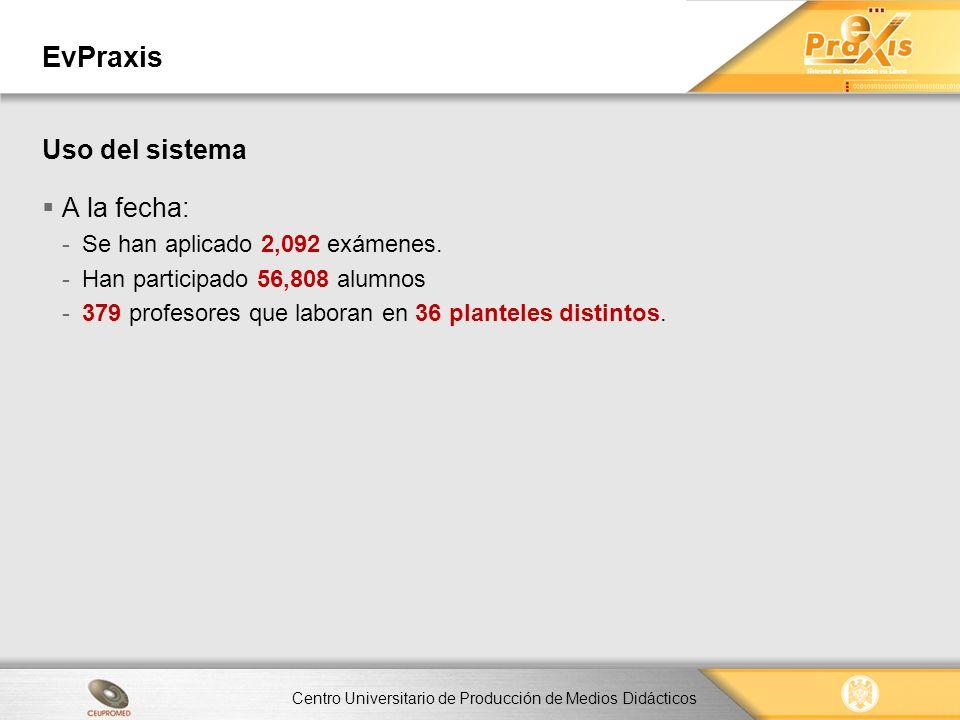 Centro Universitario de Producción de Medios Didácticos EvPraxis A la fecha: -Se han aplicado 2,092 exámenes. -Han participado 56,808 alumnos -379 pro